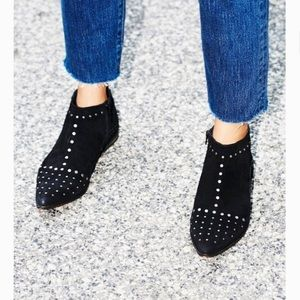 Free People | Black Suede Booties Studded Size 38